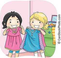 bambini, ragazze, azione, meglio, vestire, amico