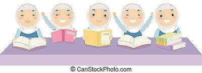 bambini, ragazze, stickman, illustrazione, libri, compagni classe