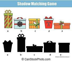 bambini, regalo, game., attività, boxes., adattamento, tema, anno, nuovo, uggia, natale