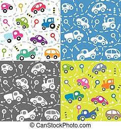 bambini, road., automobili, set., seamless, modello