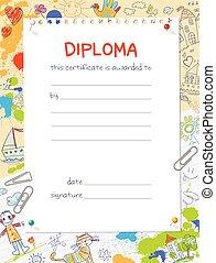 bambini, sagoma, disegni, diploma, stile