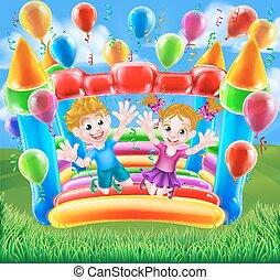 bambini, saltare, su, bouncy, castello