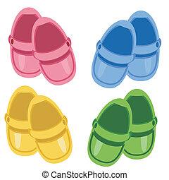 bambini, scarpe, bianco