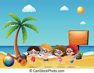 bambini, scena spiaggia, oceano