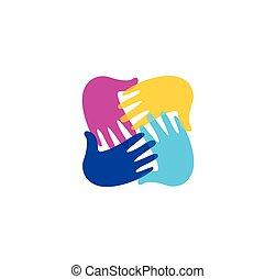 bambini scuola, arte, illustration., colorito, logotype., segno., mani, bambini, isolato, insieme, simbolo., asilo, vernice, vettore, handprints, playroom, emblem., logo., astratto
