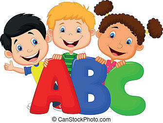 bambini scuola, cartone animato, con, abc