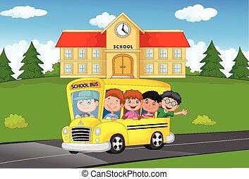 bambini scuola, cartone animato, sentiero per cavalcate, uno, scuola