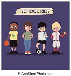 bambini scuola, collezione