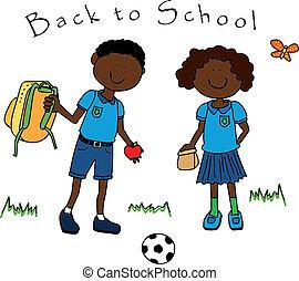 bambini scuola, coppia nera, indietro