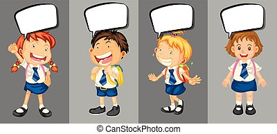 bambini, scuola, discorso, bolle, uniforme