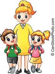 bambini scuola, essendo, loro, escorted, mamma, cartone animato