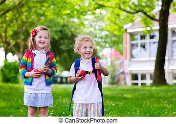 bambini scuola, giorno, primo