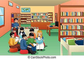 bambini scuola, gruppo, studiare, illustrazione, biblioteca