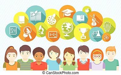 bambini scuola, icone
