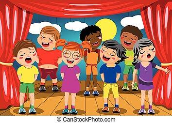 bambini scuola, multicultural, gioco, canto, palcoscenico