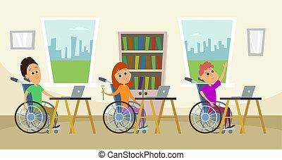 bambini scuola, school., persone, carrozzella, seduta, illustrazione, invalido, desk., educazione
