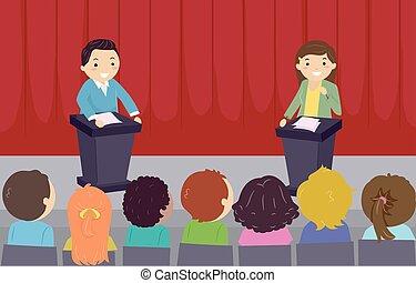 bambini scuola, stickman, dibattito, illustrazione