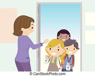 bambini scuola, stickman, esposizione, illustrazione, entrare