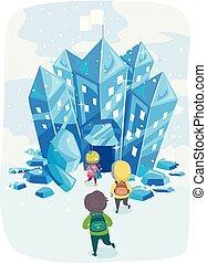 bambini scuola, stickman, ghiaccio, illustrazione