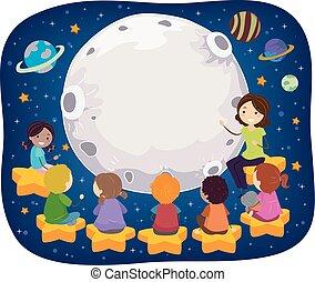 bambini scuola, stickman, insegnante, spazio