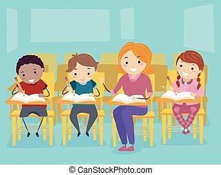 bambini scuola, stickman, privato, insegnante privato, insegnante
