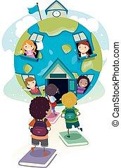 bambini scuola, stickman, studenti, globo, illustrazione