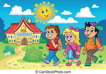 bambini scuola, tema, immagine, 4