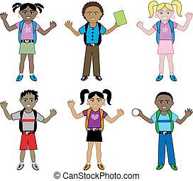 bambini scuola, zaini