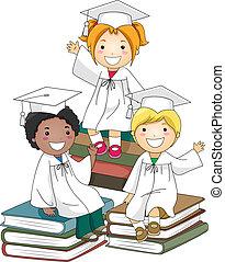 bambini, seduta, su, libri