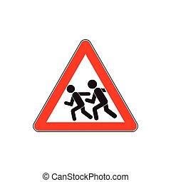 bambini, segno strada