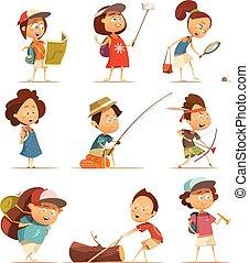 bambini, set, campeggio, icone