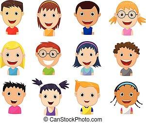 bambini, set, cartone animato, facce