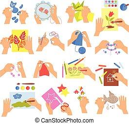 bambini, set, creativo