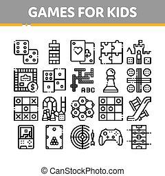 bambini, set, icone, vettore, giochi, linea sottile, interattivo