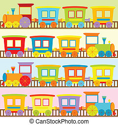 bambini, sfondi, cartone animato, treni