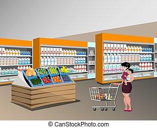 bambini, shopping, mamma
