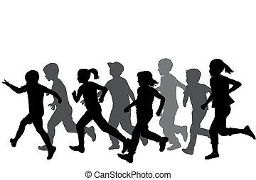 bambini, silhouette, correndo
