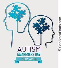 bambini, silhouette, dentro, autism, enigmi, giorno