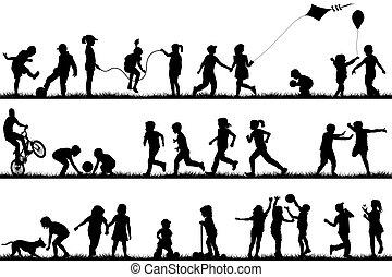 bambini, silhouette, gioco, esterno
