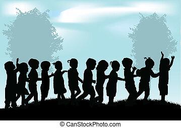 bambini, silhouette, gruppo