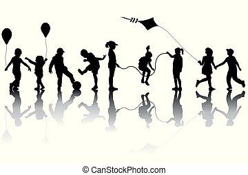 bambini, silhouette, palloni, aquilone, gioco