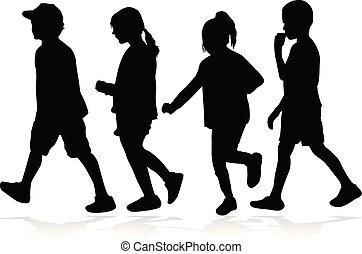 bambini, silhouette, running.