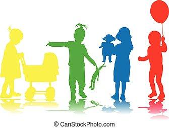 bambini, silhouette.