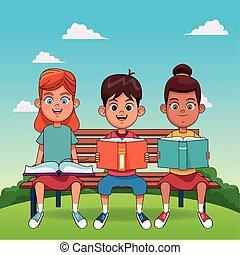 bambini, sittingn, colorito, lettura, felice, disegno, panca, libri