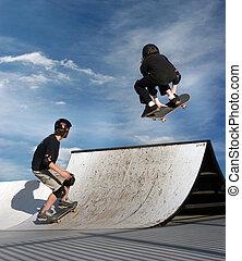 bambini, skateboarding