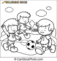 bambini, soccer., gioco