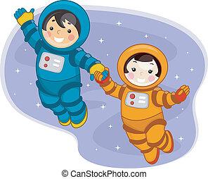 bambini, spazio