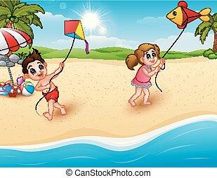 bambini, spiaggia, gioco, cervi volanti