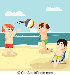 bambini, spiaggia, gioco