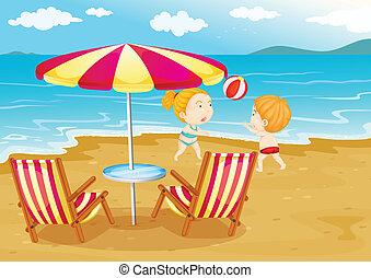 bambini, spiaggia, gioco volleyball